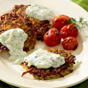 Zucchini-Potato Latkes with Tzatziki Recipe: Zucchini Potato, Yogurt Sauce, Zucchini Latkes, Potato Latkes, Healthy Recipes, Tzatziki Sauce, Meatless Monday, Greek Yogurt
