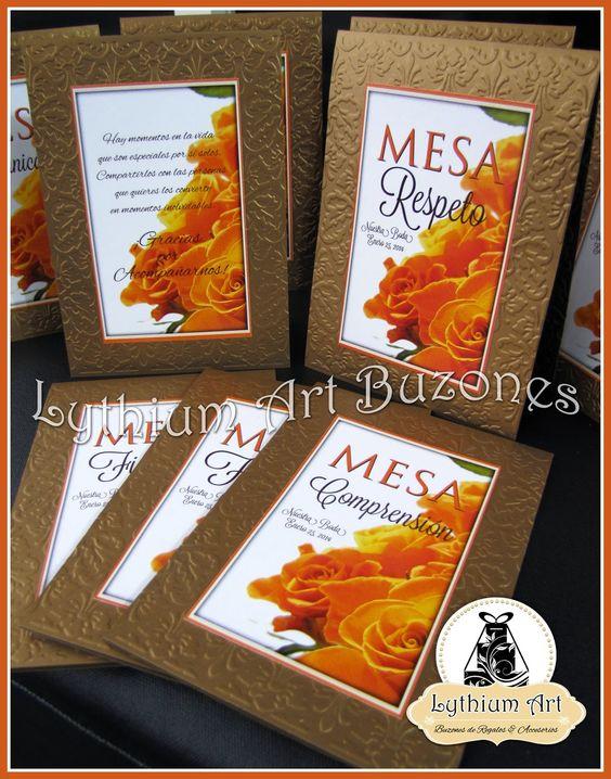 "Identificadores de Mesa ""2 Aguas"" en tonos Naranja, Beige y Dorado   Lythium Art® Design by: Yil Siritt #bodas #bodasenvenezuela #bodasvzla #weddingideas #decoraciondeeventos #tablenumber #identificadordemesa"