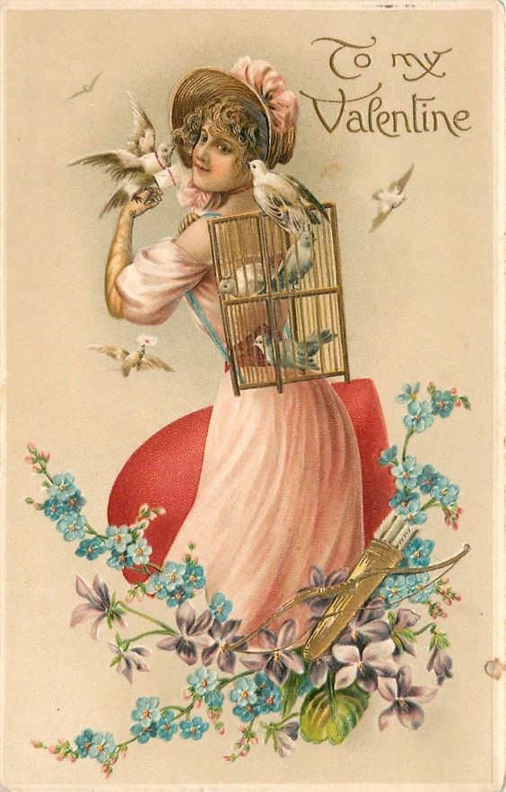 Valentine Lady Sends Lots of Doves with Messages Cupids Bow Arrows Emb Germany | eBay
