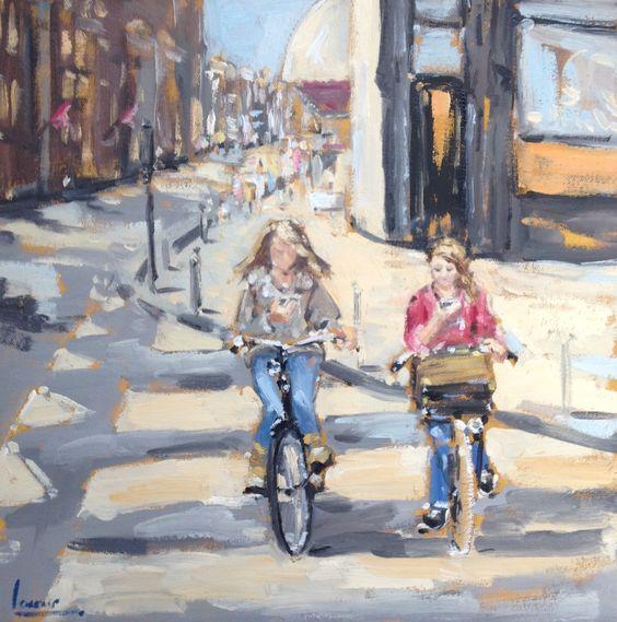 Amsterdam, Girls with mobile phones, Bike, Impressionist