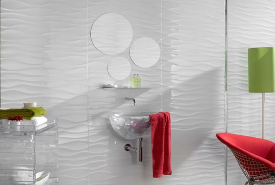 White bathroom with wavy tile beautiful baths for Bathroom ideas 9x6