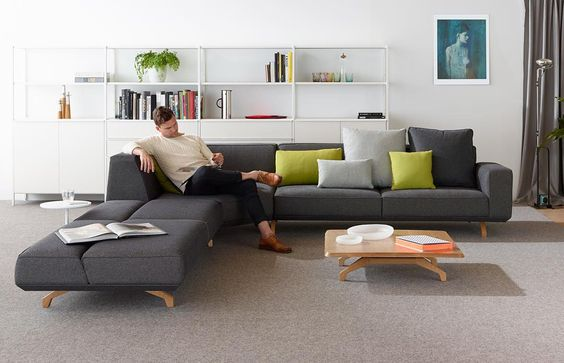For the couch potato in all of usfind your perfect creature comfort (link in profile). Pictured is the dynamic & timeless #Bomba Sofa three-seater ottoman and coffee table. #furniture #lounge #relax #schiavello by schiavellogroup