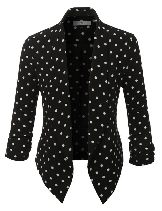 LE3NO Womens Textured Polka Dot 3/4 Sleeve Blazer