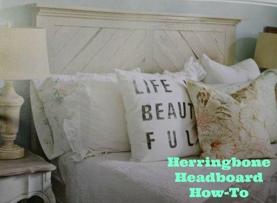 Herringbone Headboard How-To #DIY