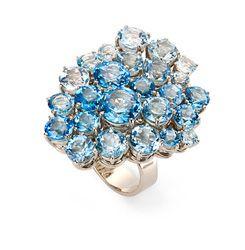 Anel de Ouro com topazios azuis