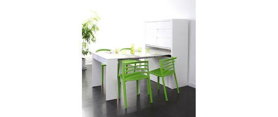 Cómoda diseño mesa extensible lacada blanca PRATIK - Miliboo