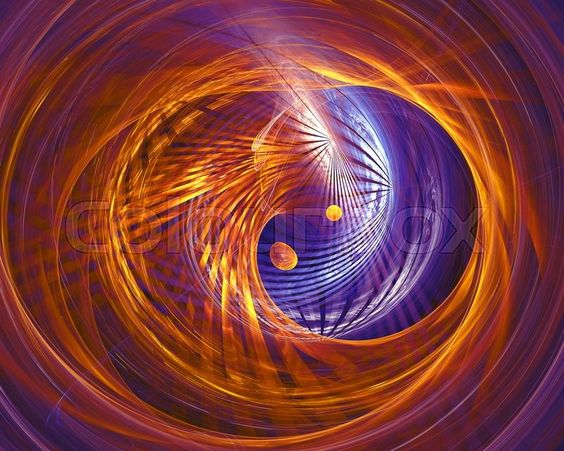 Fractal-Generating Software | Abstract fantasy tunnel with yellow and purple lines. Fractal artwork ...