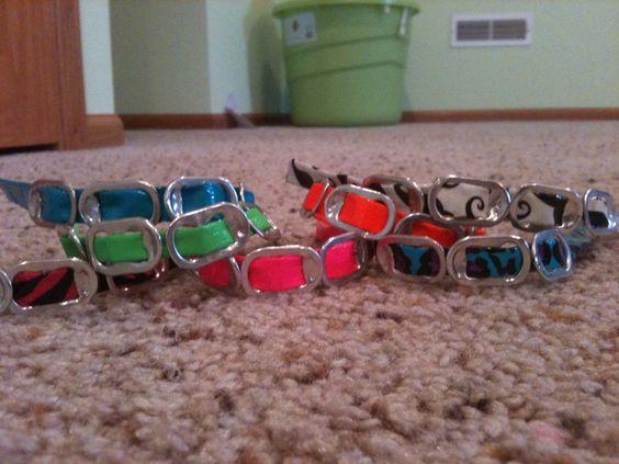 Duck tape bottle cap bracelets by LSDesigns321 on Etsy