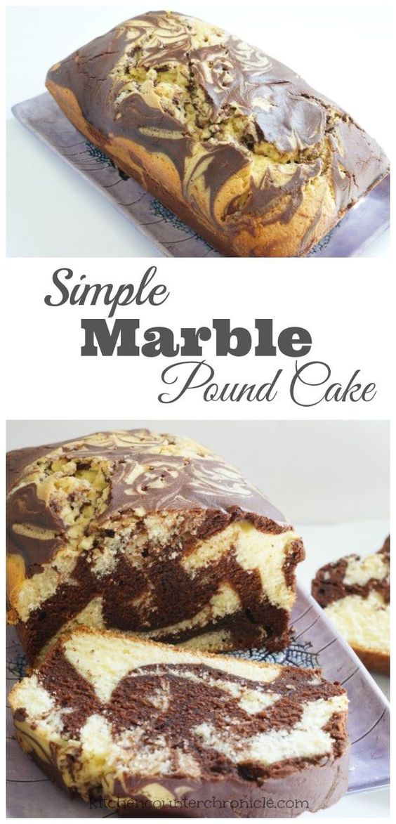 Simple Marble Pound Cake Recipe - Can't decide if you want chocolate cake or vanilla cake? Make both! Marble cake is the perfect compromise. A simple recipe that the kids can help make. | Cake Recipe | Kid Made Dessert |