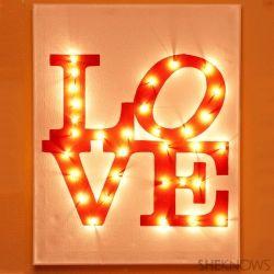DIY illuminated LOVE canvas