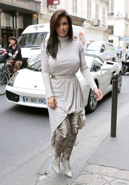 Kim Kardashian and Christian Louboutin Lili Thigh High Boots Photograph