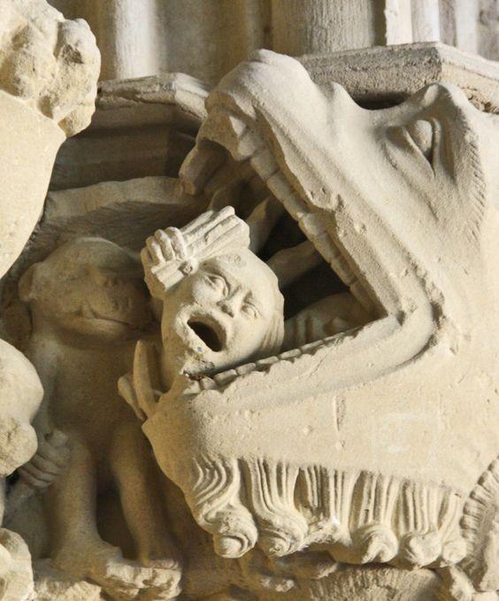 Eating souls.   Iglesia de Santa María, Ujué, Navarra (Spain)