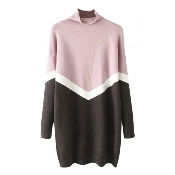 High Neck Chevron Detail Color Block Longline Sweater (1.915 RUB) ❤ liked on Polyvore featuring tops, sweaters, color block sweater, colorblock top, chevron tops, block sweater and chevron print tops