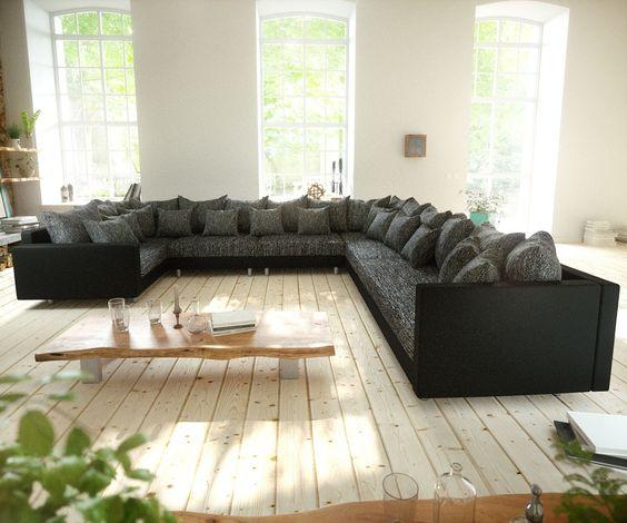 Canapé XXL panoramique en imitation cuir/tissu + méridienne fixe ...