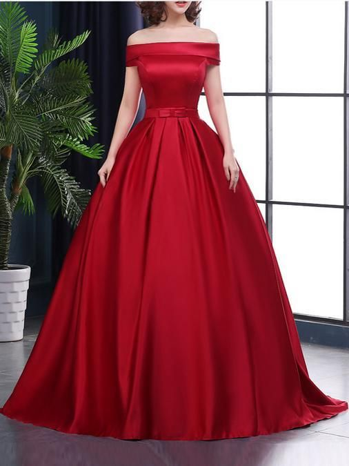 Beautiful Red Off Shoulder Satin Junior Prom Dress Sweet Red Formal Gown 2019 Long Prom Dresses Uk Prom Dresses Long Beautiful Party Dresses