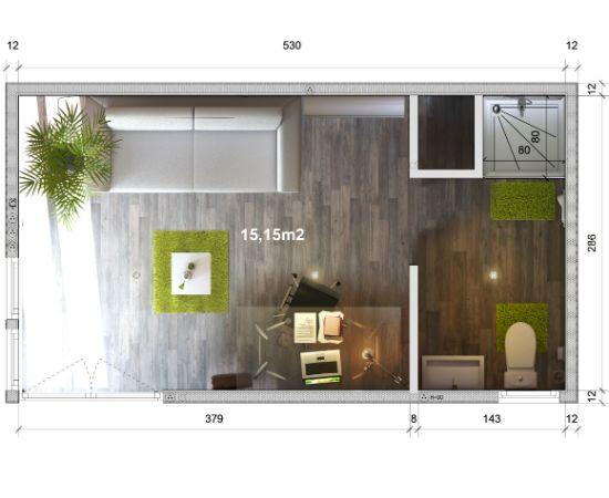 Configurateur GreenKub GK15 de 15 m² Plan studio Greenkub | Bureau ...