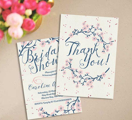 Echanted Floral Bridal Shower Invitation Set Instant download - download invitation card
