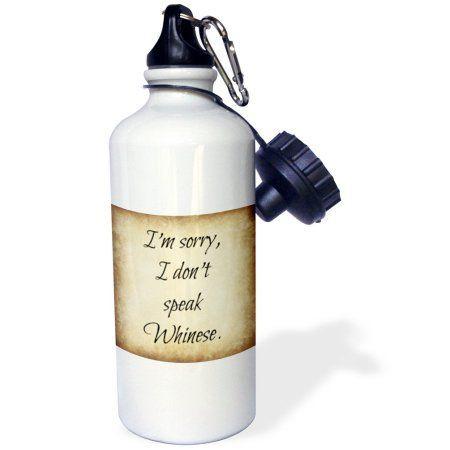 3dRose Im Sorry I Dont Speak Whinese, Black Lettering, Sports Water Bottle, 21oz, White