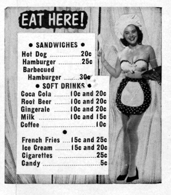 Menu from the Sunset Drive-In Theater in Chambersburg in 1955