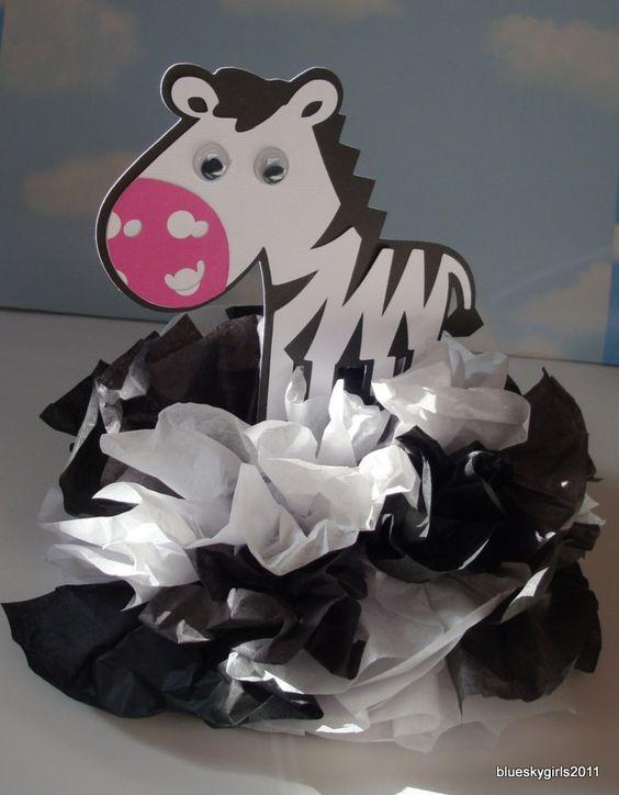 Zebra centerpiece decoration kit diy complete birthday