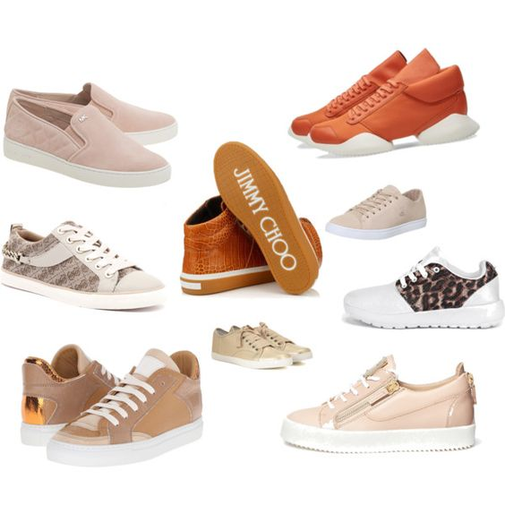 sneakers by lenahcaruana on Polyvore featuring Jimmy Choo, Giuseppe Zanotti, MM6 Maison Margiela, MICHAEL Michael Kors, GUESS, Lacoste, Boohoo, sneakers, runners and Trainers: