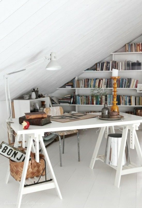 """Could be cool to do bookshelves on one of the """"peak"""" walls... (I'm too tall for this space, but I like it.)"""