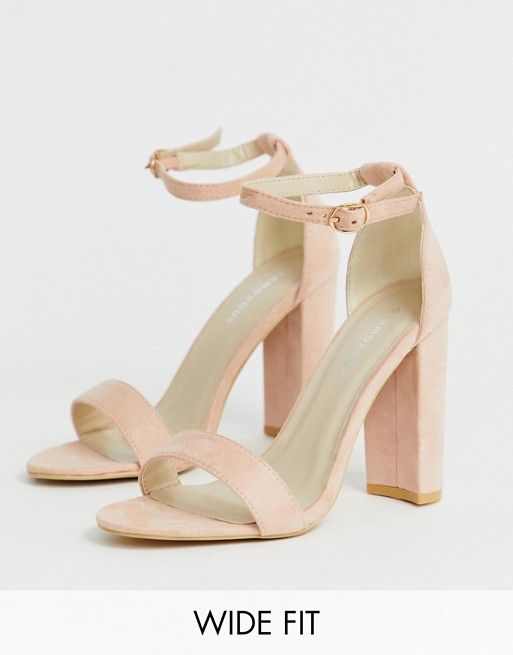 Glamorous Wide Fit Blush Barely There Heeled Sandals Asos Sandals Heels Heel Sandals Outfit Pink Block Heel Sandals