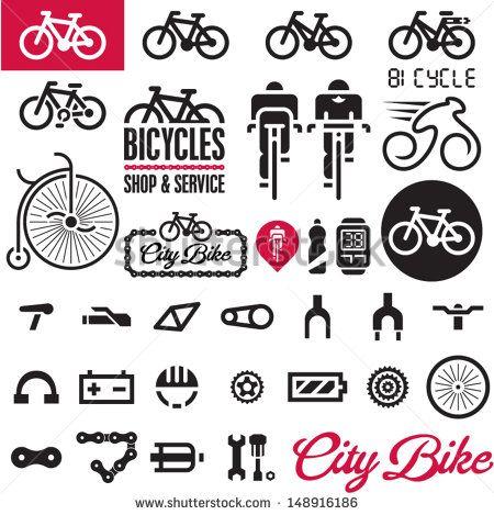 Bicicletas. Conjunto de Diseño vectorial aislado de Accesorios de bicicleta