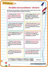 6 times table division word problems | Free worksheets | Pinterest ...