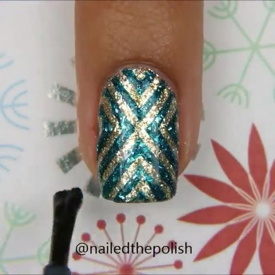 "Nails Art Clips on Instagram: ""X-pattern mani by @NailedThePolish Song: ""Love Myself"" by. Hailee Steinfeld"""