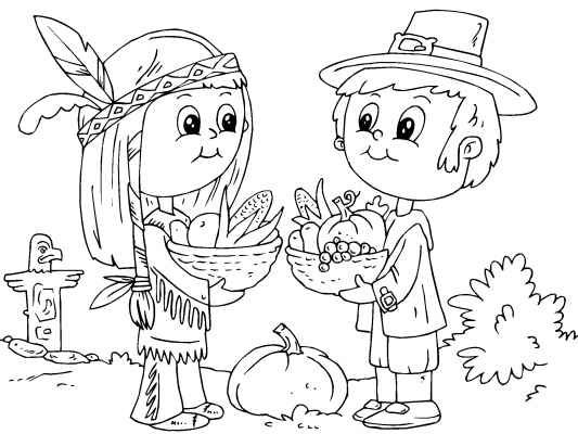 first thanksgiving coloring pages free | Sharing food at the first Thanksgiving. More great ...