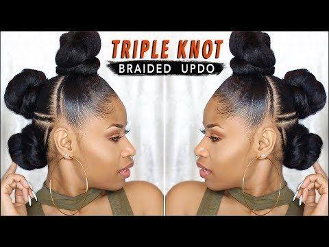 Edgy Triple Knot Braided Updo Natural Hair Tutorial Video Black Hair Information Natural Hair Styles Braided Updo Natural Hair Natural Hair Tutorials