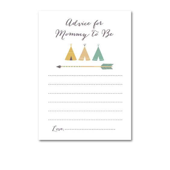 Baby Shower Tribal TeePee Indian Arrow - Activity Advice for Mommy to Be - Instant Download Printable