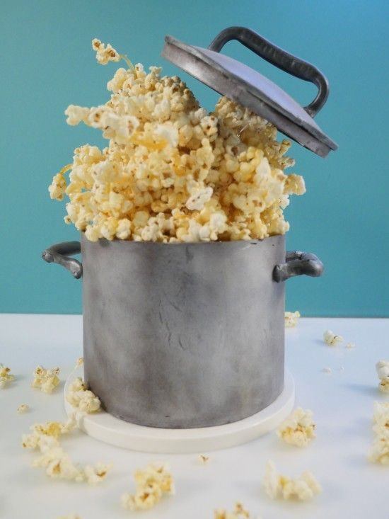 Gravity Defying Popcorn Cake Howtocookthat Cakes Dessert