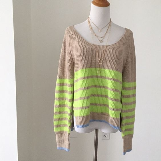Victoria's Secret beige crew neck sweater Chunky, thick knit sweater with lime stripes. New without tags. Victoria's Secret Sweaters Crew & Scoop Necks