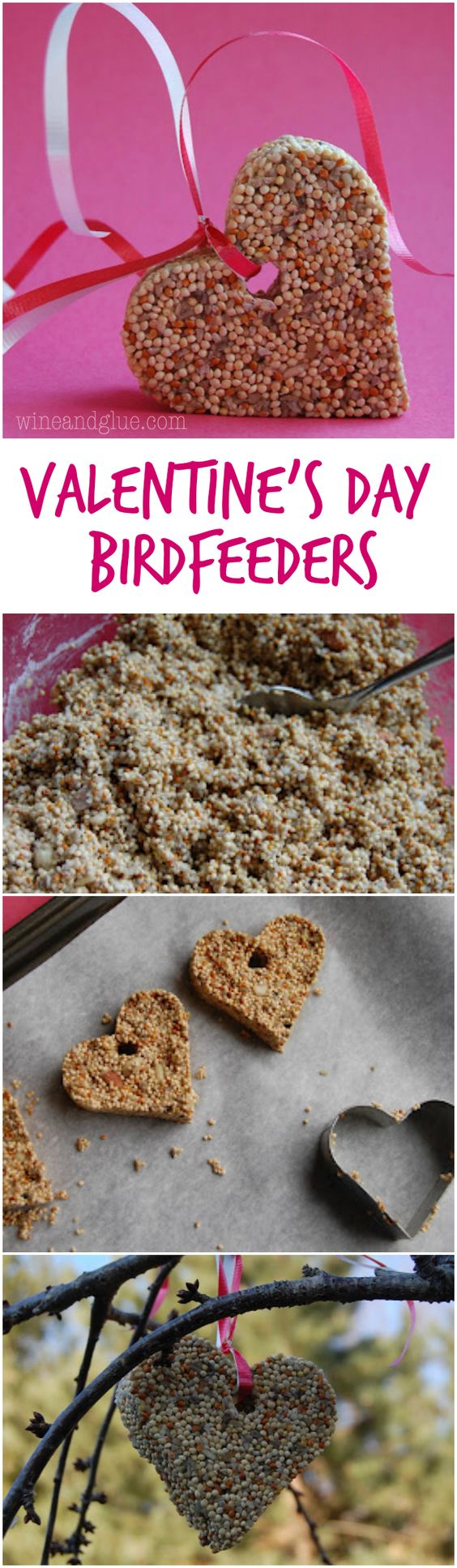 Valentine's Day Bird Feeders | www.wineandglue.com | Simple craft and make for a cute little gift!: