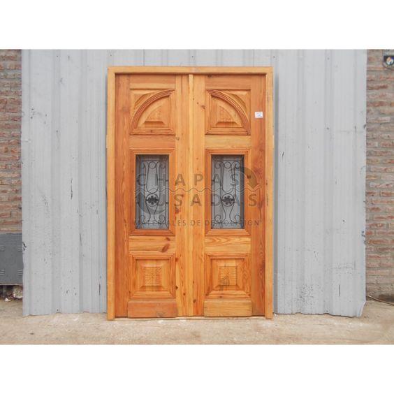 Puerta de frente de madera antigua en pinotea puertas de for Puertas usadas de madera