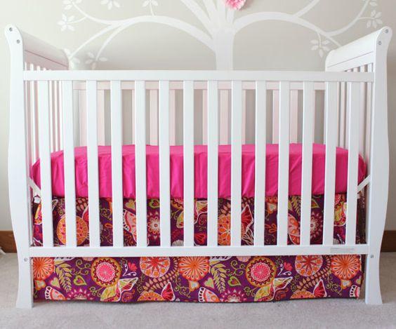 2 Piece Modern Crib Bedding Set, Crib Skirt and Sheet, Chevron, Giraffe, Polka Dot, Elephant, Damask, Gray, Green, Aqua Modern Crib Set