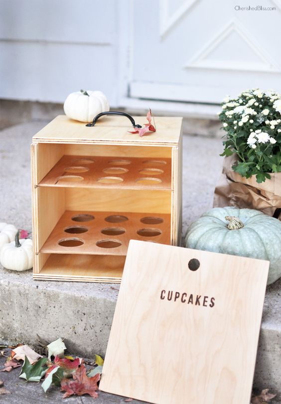 How to make a DIY cupcake box carrier.  Free Plans!
