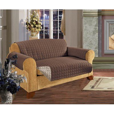 Winston Porter Reversible T Cushion Sofa Slipcover Colour Chocolate In 2020 Cushions On Sofa Furniture Armchair Slipcover