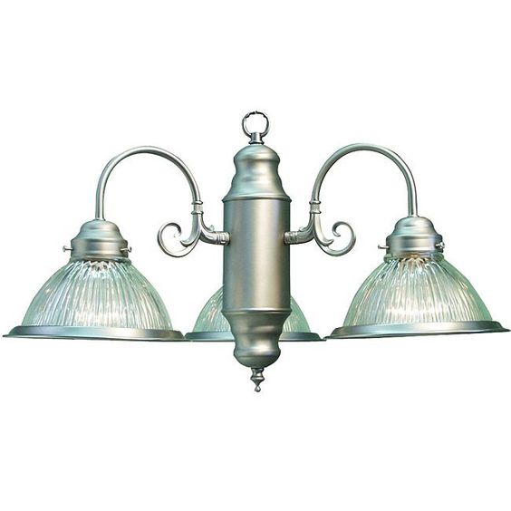 possible bathroom light...from overstock.  This Woodbridge lighting has subtle detailing and an understated presence. This three-light chandelier adds an elegant feel to any interior and showcases a satin nickel finish with clear prismatic glass shades.