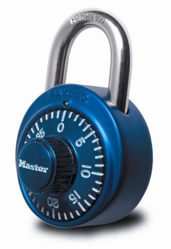 """Master Lock 1530DCM X-treme Combination Lock in Assorted Colors, 1-Pack by Master Lock. $6.97. From the Manufacturer                Master Lock 1530DCM 1-7/8"""" (48mm) wide X-treme Combination Lock in assorted colors, 1 color randomly selected at the time of shipment.                                    Product Description                Bold, colorful combination lock in assortment of colors. Aluminum cover with anodized finish. 1 7/8in.W stainless steel body with 3/4in. ha..."""