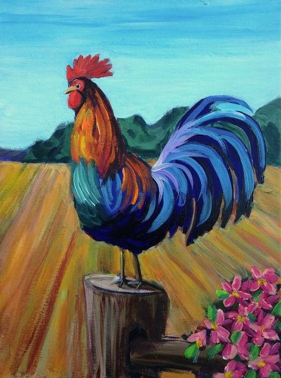 How to paint a rooster google search painting for Easy animal paintings