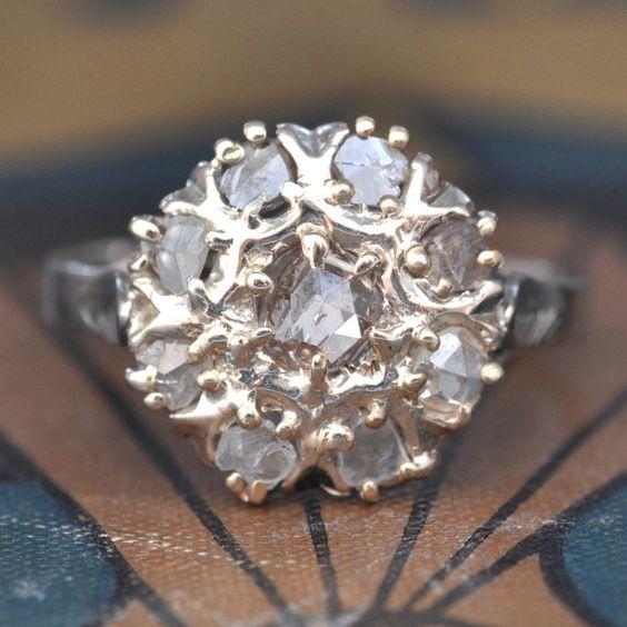 Geschliffene Diamant Verlobungsring-Rose Ring-Diamond Cluster-Vintage Engagement - Engagement-Statement Diamantring Antik von EngagedWithDiamonds auf Etsy https://www.etsy.com/de/listing/229699531/geschliffene-diamant-verlobungsring-rose