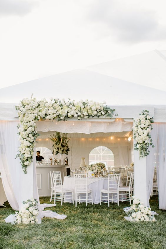 Classic floral covered white tent: http://www.stylemepretty.com/maryland-weddings/baltimore/2016/03/24/classic-elegant-maryland-horse-farm-wedding/   Photography: Shannon Michele - http://shannonmichelephotography.com/