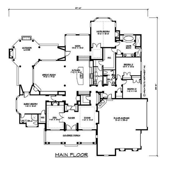 One story floor plan now if only this came with a for One story floor plans with basement