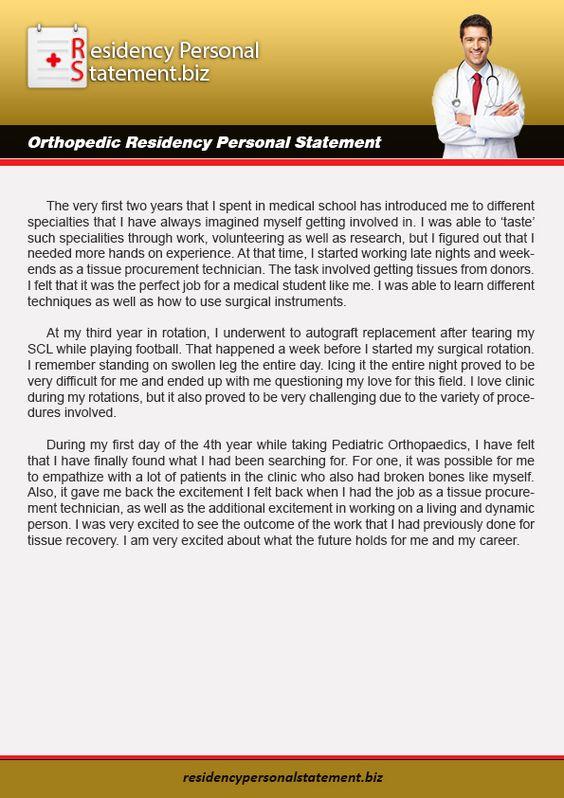 Residency personal statement examples (serinajohnson85) on Pinterest