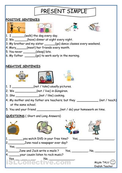 present simple for kids worksheets printable | activities ...