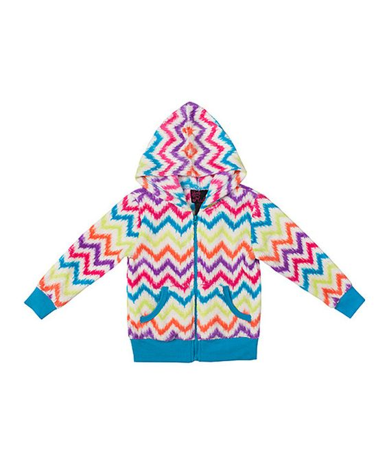 Look at this Girls Rule Turquoise Chevron Zip-Up Hoodie - Toddler & Girls on #zulily today!