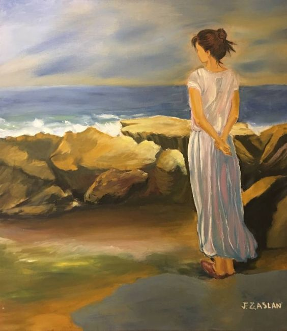 Lonely Woman, a Oil on Canvas by Fatih Aslan from United Kingdom. It portrays: Women, relevant to: beautiful, rocks, sea, waves, women, alone, lady, emotionaly, lonely This painting shows a woman standing behind the rocks staring at the sea ahead. Someone who looks at the painting will find themselves feeling thoughtful and wondering what the woman is thinking about.Also this painting comes with specially frame
